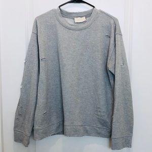 Storia Gray Distressed Sweatshirt Large